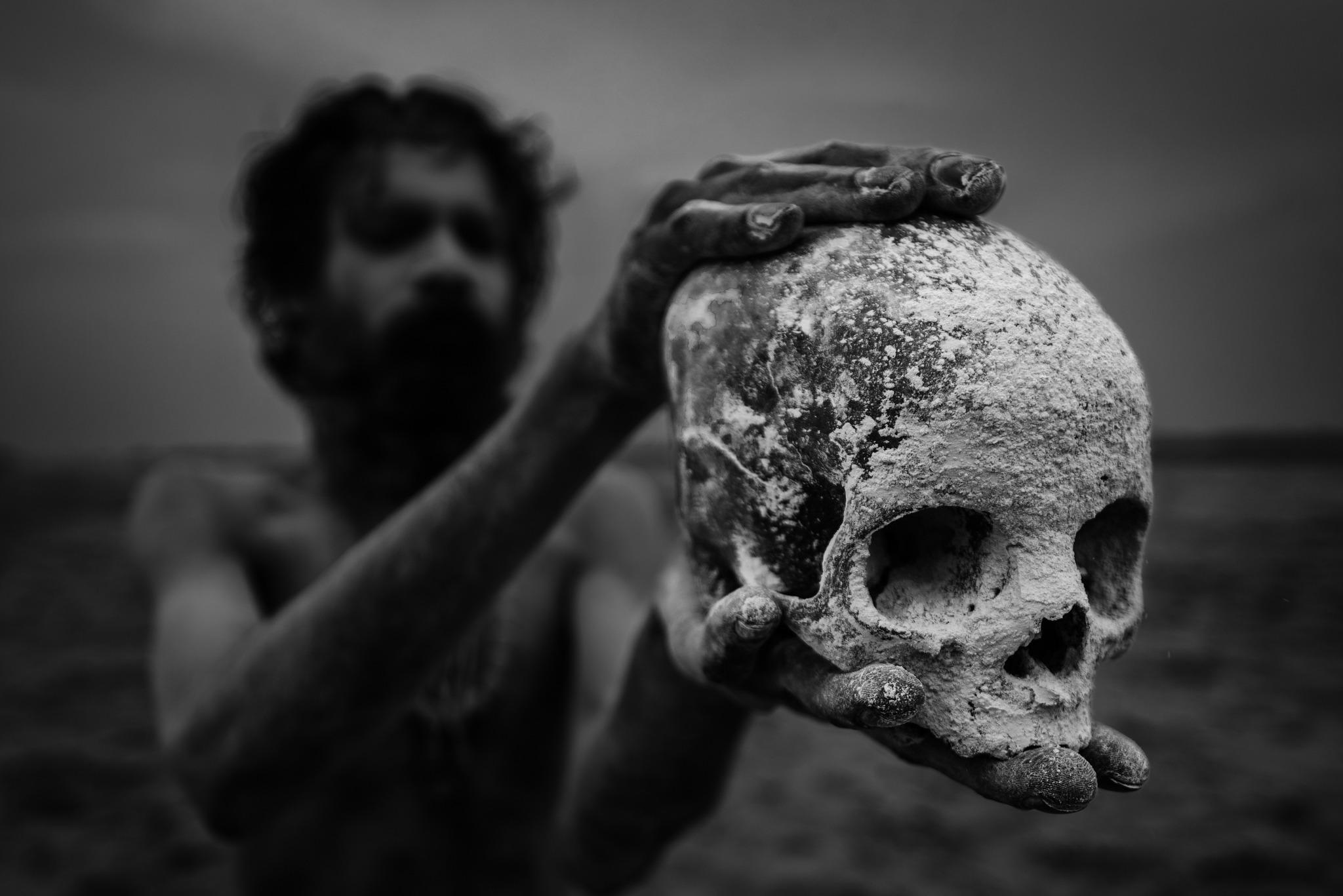 Aghori sadhu with skull