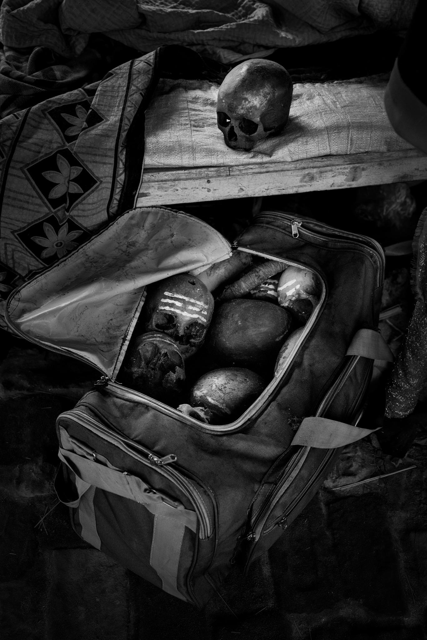 Human skulls in Aghori ashram